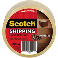"3750 Commercial Grade Packaging Tape, 1.88"" x 54.6yds, 3"" Core, Clear from Scotch"