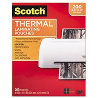 Letter Size Thermal Laminating Pouches, 3 mil, 11 1/2 x 9, 20/Pack from Scotch