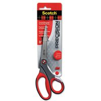 "Precision Scissors, Pointed, 8"" Length, 3 1/4"" Cut, Gray/Red from Scotch"