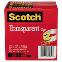 "Transparent Tape 600 72 3PK, 1"" x 2592"", 3"" Core, Transparent, 3/Pack from Scotch"