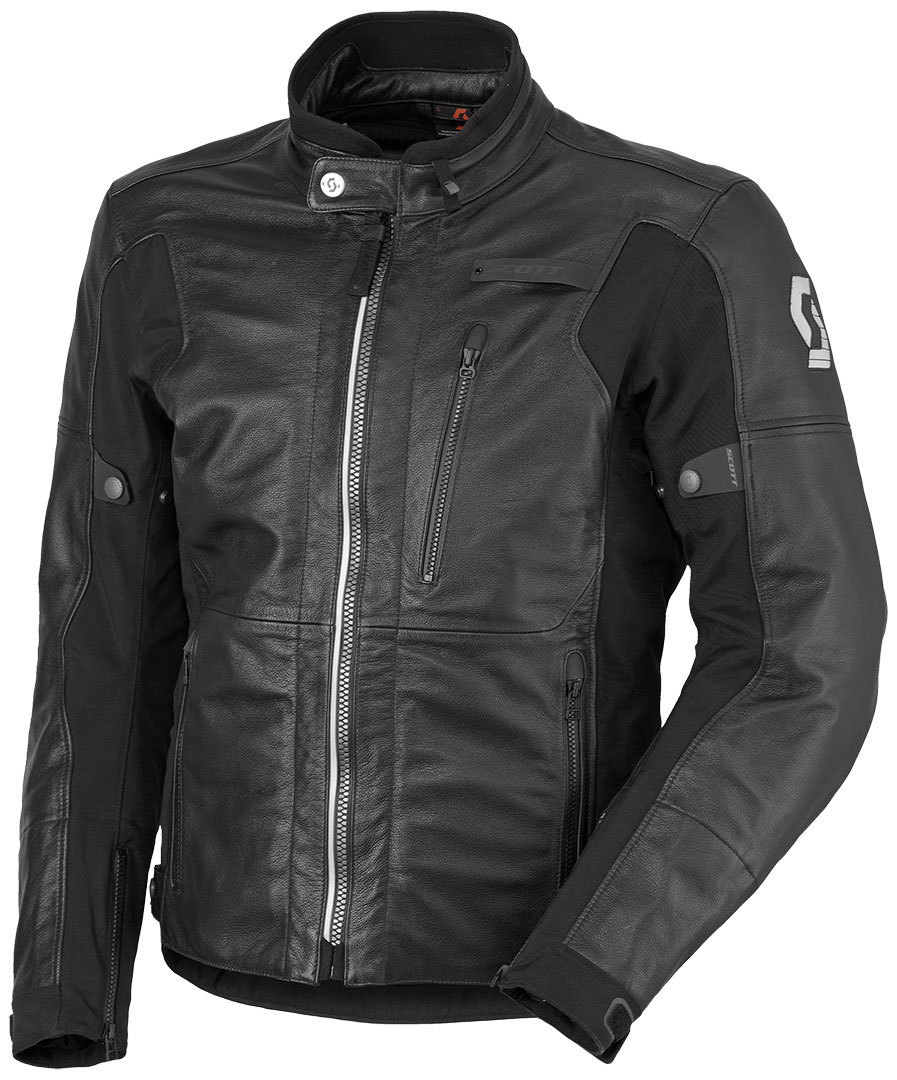 Scott Tourance DP Motorcycle Leather Jacket, black, Size S, black, Size S from Scott