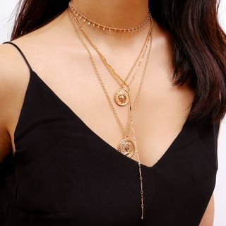 Coin Pendant Layered Choker Necklace from Seirios