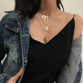 Coin & Cross Pendant Layered Choker Necklace from Seirios