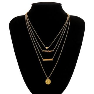 Disc & Bar Layered Necklace 1983 - Gold - One Size from Seirios