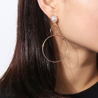 Faux-Pearl Cicle Drop Earrings from Seirios