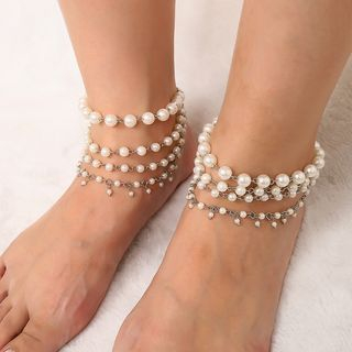 Faux Pearl Layered Anklet from Seirios