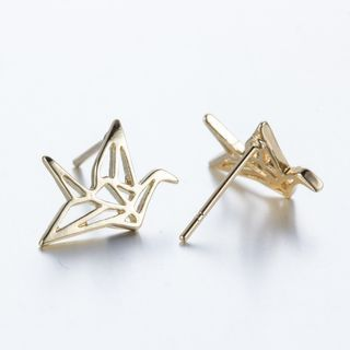 Metallic Origami Crane Earrings from Seirios