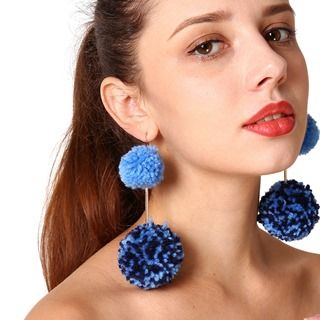 Pompom-Accent Drop Earrings from Seirios