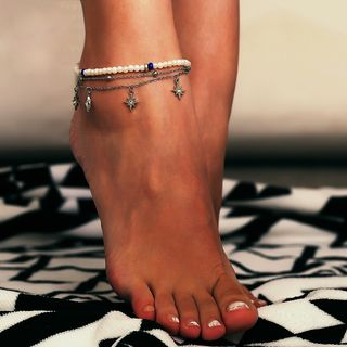 Rhinestone Star Layered Anklet 426 - Silver - One Size from Seirios