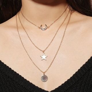 Rhinestone Star Multi-Chain Necklace from Seirios