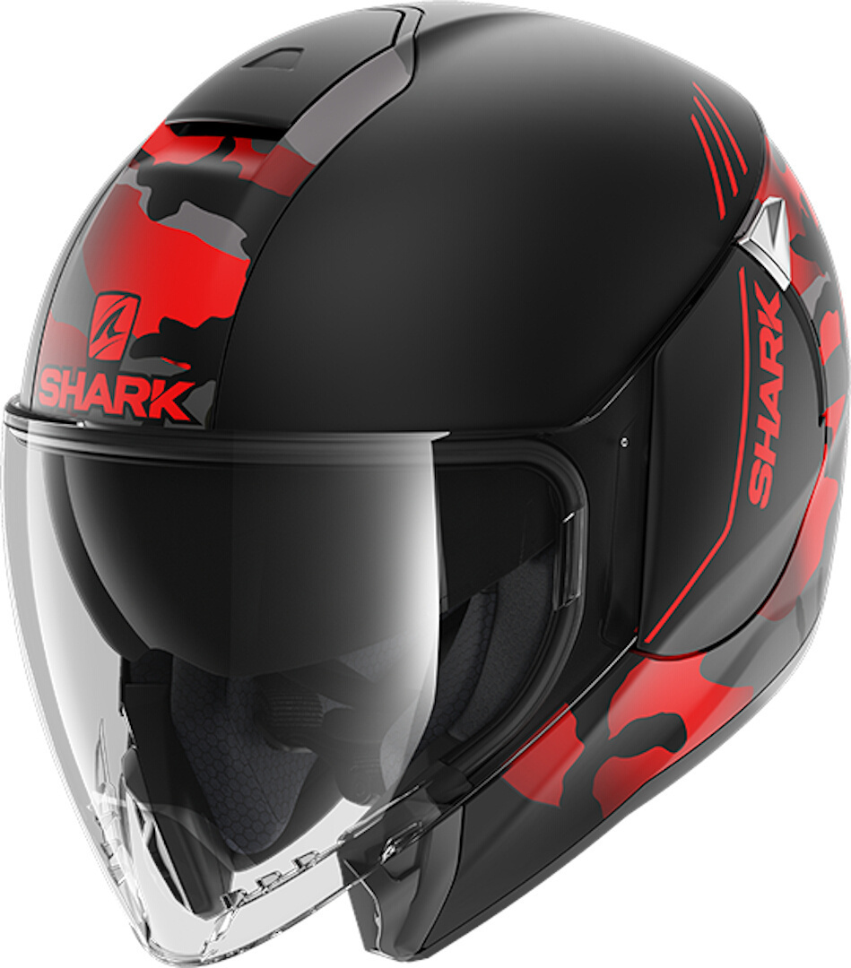 Shark City Cruiser Genom Matt Jet Helmet, black-red, Size XS, black-red, Size XS from Shark