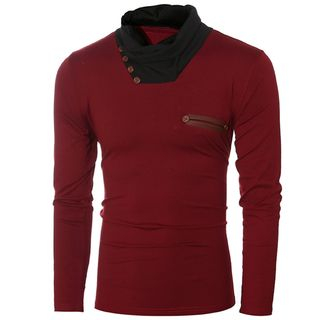 Contrast Cowl-Neck Long Sleeve T-Shirt from Sheck