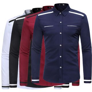 Contrast Trim Long-Sleeve Shirt from Sheck