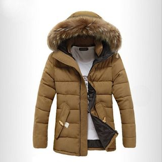 Faux-Fur Trim Hooded Padded Coat from Sheck