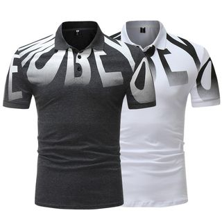 Lettering Short-Sleeve Polo Shirt from Sheck