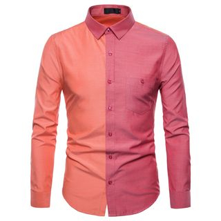Long-Sleeve Color Block Shirt from Sheck