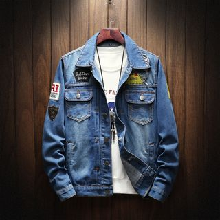 Ripped Patched Denim Jacket from Sheck