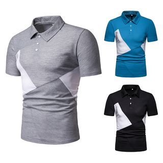 Short-Sleeve Two-Tone Polo Shirt from Sheck