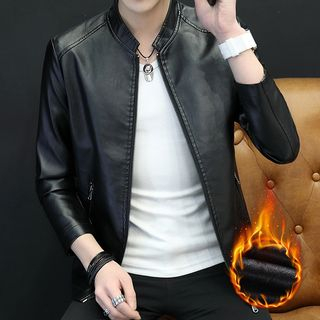Slim-Fit Faux-Leather Jacket from Sheck