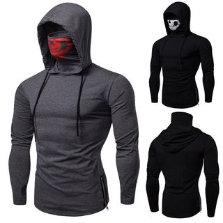 Turtleneck Hooded Long-Sleeve T-Shirt from Sheck