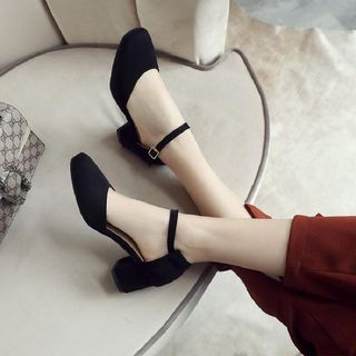 Ankle Strap Block Heel Pumps from Shoes Galore