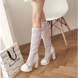 Block Heel Lace Tall Boots from Shoes Galore