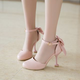 Bow Accent Ankle Strap Heel Sandals from Shoes Galore