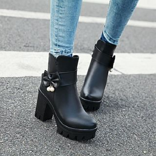 Bow Block Heel Short Boots from Shoes Galore