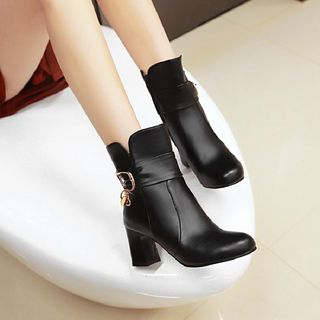 Buckled Block Heel Short Boots from Shoes Galore