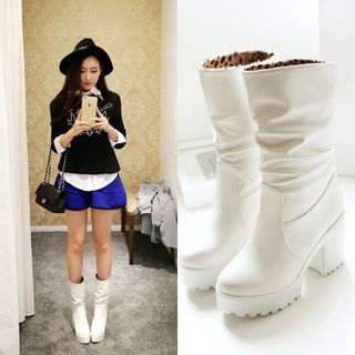 Chunky Heel Faux Leather Boots from Shoes Galore