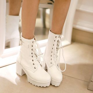 Chunky Heel Lace Up Boots from Shoes Galore