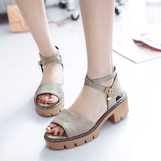 Cross Strap Chunky Heel Sandals from Shoes Galore
