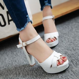 Cross Strap High Heel Sandals from Shoes Galore