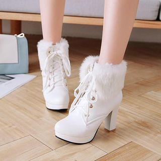 Faux Fur Trim Chunky Heel Ankle Boots from Shoes Galore