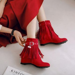 Fringed Belted Hidden Wedge Short Boots from Shoes Galore