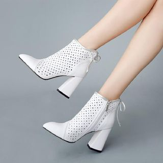 Genuine Leather Perforated Block Heel Short Boots from Shoes Galore