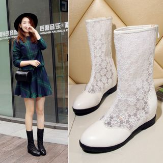 Hidden Wedge Lace Panel Boots from Shoes Galore