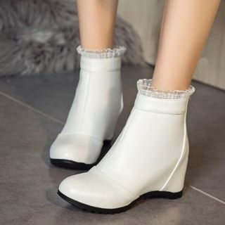 Hidden Wedge Lace-Trim Ankle Boots from Shoes Galore