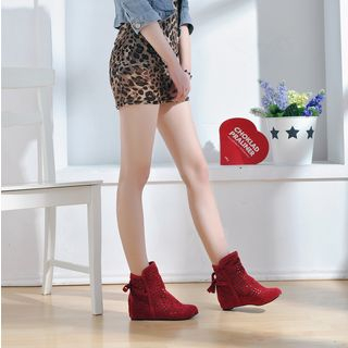 Hidden Wedge Perforated Ankle Boots from Shoes Galore