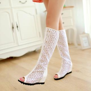 Lace Perforated Wedge Boot Sandals from Shoes Galore