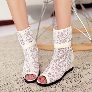 Peep Toe Hidden Wedge Ankle Boots from Shoes Galore