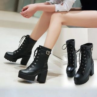 Platform Block Heel Lace Up Short Boots from Shoes Galore