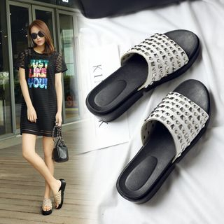 Studded Platform Slide Sandals from Shoes Galore