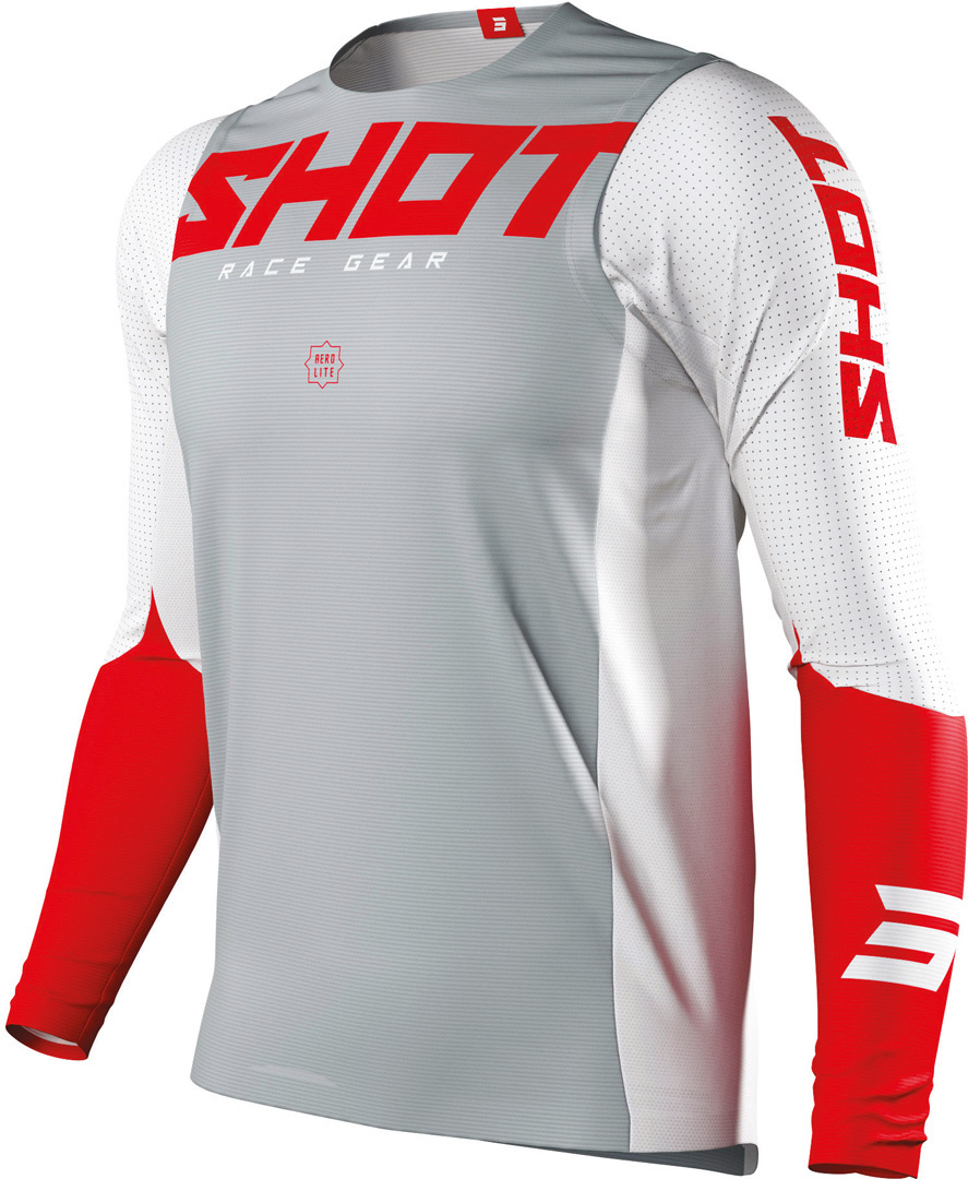Shot Aerolite Airflow Motocross Jersey, grey-red, Size L, grey-red, Size L from Shot