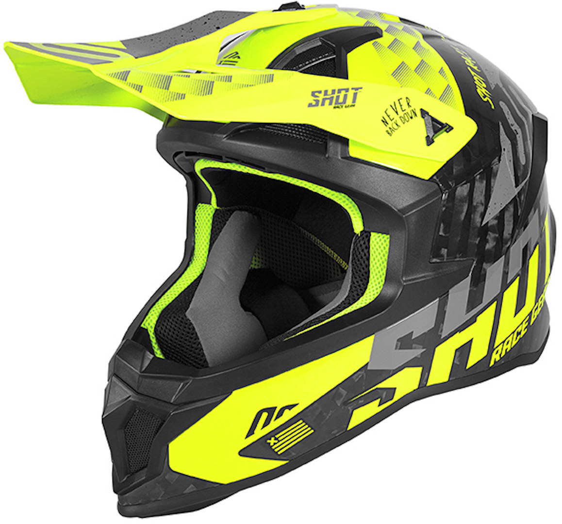 Shot Lite Carbon Rush Motocross Helmet, yellow, Size L, yellow, Size L from Shot