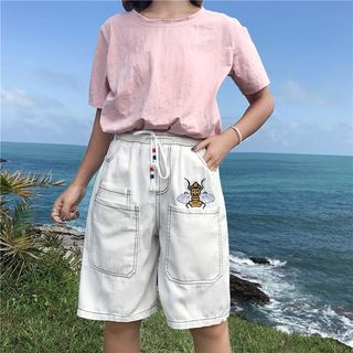 Bee Embroidered Denim Shorts from Sienne