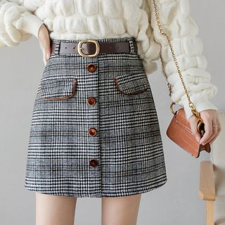 Belted Plaid Mini A-Line Skirt from Sienne