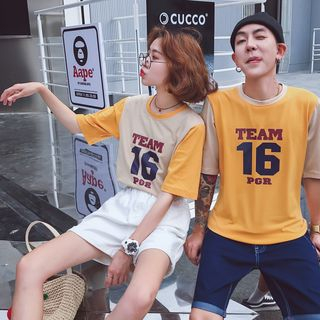 Couple Match Lettering Short-Sleeve T-Shirt from Sienne