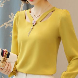 Cut Out Detail Chiffon Blouse from Sienne