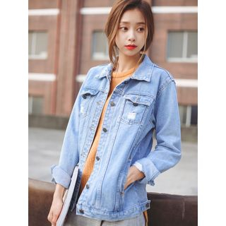 Distressed Washed Denim Jacket from Sienne